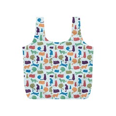 Blue Colorful Cats Silhouettes Pattern Full Print Recycle Bags (S)