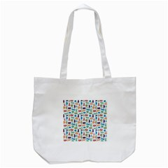 Blue Colorful Cats Silhouettes Pattern Tote Bag (White)