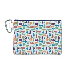 Blue Colorful Cats Silhouettes Pattern Canvas Cosmetic Bag (M)