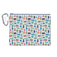 Blue Colorful Cats Silhouettes Pattern Canvas Cosmetic Bag (L)