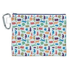 Blue Colorful Cats Silhouettes Pattern Canvas Cosmetic Bag (XXL)