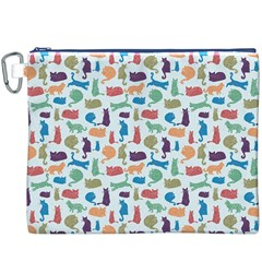 Blue Colorful Cats Silhouettes Pattern Canvas Cosmetic Bag (XXXL)