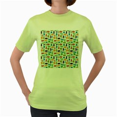Blue Colorful Cats Silhouettes Pattern Women s Green T-Shirt