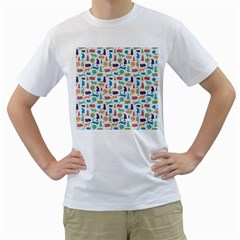 Blue Colorful Cats Silhouettes Pattern Men s T Shirt (white) (two Sided)