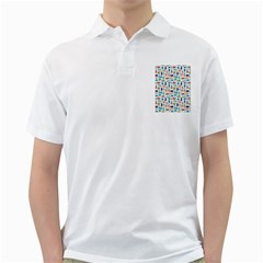 Blue Colorful Cats Silhouettes Pattern Golf Shirts