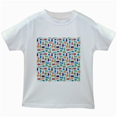 Blue Colorful Cats Silhouettes Pattern Kids White T Shirts