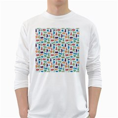 Blue Colorful Cats Silhouettes Pattern White Long Sleeve T-Shirts