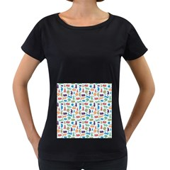Blue Colorful Cats Silhouettes Pattern Women s Loose-Fit T-Shirt (Black)