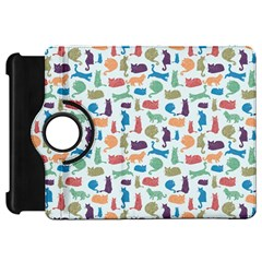 Blue Colorful Cats Silhouettes Pattern Kindle Fire Hd Flip 360 Case