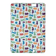 Blue Colorful Cats Silhouettes Pattern Kindle Fire HDX 8.9  Hardshell Case