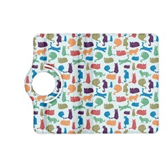 Blue Colorful Cats Silhouettes Pattern Kindle Fire HD (2013) Flip 360 Case