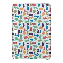 Blue Colorful Cats Silhouettes Pattern Samsung Galaxy Tab Pro 10.1 Hardshell Case