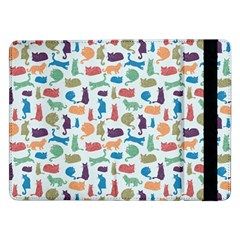 Blue Colorful Cats Silhouettes Pattern Samsung Galaxy Tab Pro 12.2  Flip Case