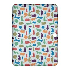 Blue Colorful Cats Silhouettes Pattern Samsung Galaxy Tab 4 (10.1 ) Hardshell Case