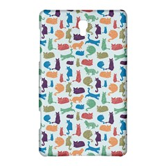 Blue Colorful Cats Silhouettes Pattern Samsung Galaxy Tab S (8 4 ) Hardshell Case