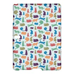 Blue Colorful Cats Silhouettes Pattern Samsung Galaxy Tab S (10 5 ) Hardshell Case