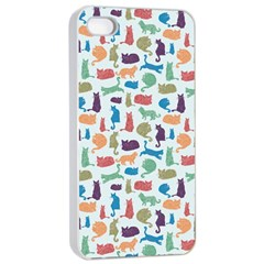 Blue Colorful Cats Silhouettes Pattern Apple iPhone 4/4s Seamless Case (White)