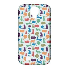 Blue Colorful Cats Silhouettes Pattern Samsung Galaxy S4 Classic Hardshell Case (pc+silicone)