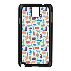 Blue Colorful Cats Silhouettes Pattern Samsung Galaxy Note 3 N9005 Case (black)
