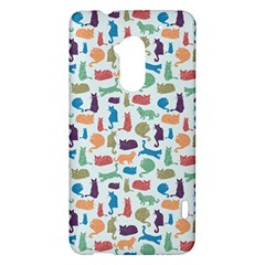 Blue Colorful Cats Silhouettes Pattern HTC One Max (T6) Hardshell Case