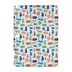 Blue Colorful Cats Silhouettes Pattern Samsung Galaxy Note 10.1 (P600) Hardshell Case