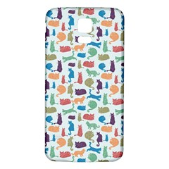 Blue Colorful Cats Silhouettes Pattern Samsung Galaxy S5 Back Case (White)