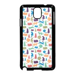 Blue Colorful Cats Silhouettes Pattern Samsung Galaxy Note 3 Neo Hardshell Case (Black)