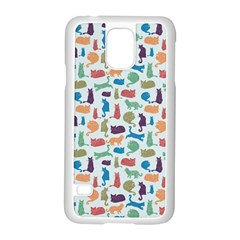 Blue Colorful Cats Silhouettes Pattern Samsung Galaxy S5 Case (White)