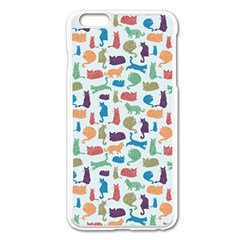 Blue Colorful Cats Silhouettes Pattern Apple iPhone 6 Plus Enamel White Case
