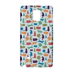 Blue Colorful Cats Silhouettes Pattern Samsung Galaxy Note 4 Hardshell Case