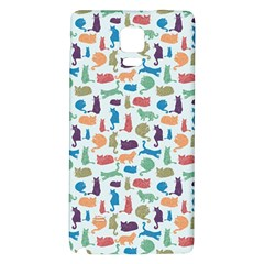 Blue Colorful Cats Silhouettes Pattern Galaxy Note 4 Back Case