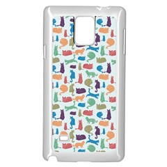 Blue Colorful Cats Silhouettes Pattern Samsung Galaxy Note 4 Case (White)