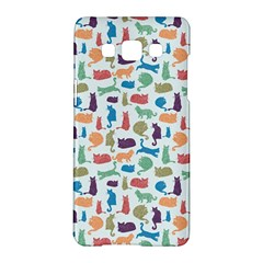 Blue Colorful Cats Silhouettes Pattern Samsung Galaxy A5 Hardshell Case