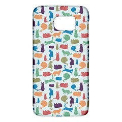 Blue Colorful Cats Silhouettes Pattern Galaxy S6