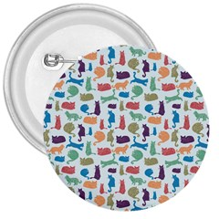 Blue Colorful Cats Silhouettes Pattern 3  Buttons