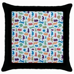 Blue Colorful Cats Silhouettes Pattern Throw Pillow Cases (black)