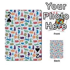 Blue Colorful Cats Silhouettes Pattern Playing Cards 54 Designs