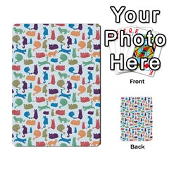Blue Colorful Cats Silhouettes Pattern Multi-purpose Cards (Rectangle)
