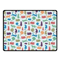 Blue Colorful Cats Silhouettes Pattern Fleece Blanket (small)