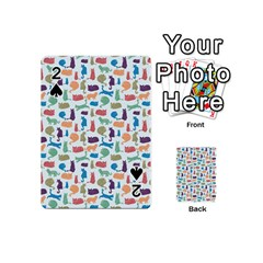 Blue Colorful Cats Silhouettes Pattern Playing Cards 54 (Mini)