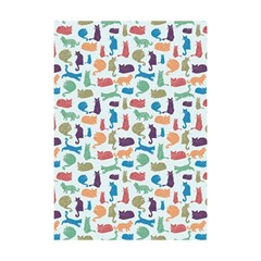 Blue Colorful Cats Silhouettes Pattern Shower Curtain 48  X 72  (small)