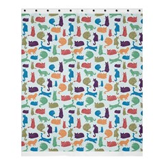 Blue Colorful Cats Silhouettes Pattern Shower Curtain 60  x 72  (Medium)