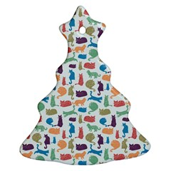 Blue Colorful Cats Silhouettes Pattern Ornament (Christmas Tree)
