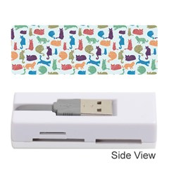 Blue Colorful Cats Silhouettes Pattern Memory Card Reader (stick)