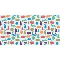 Blue Colorful Cats Silhouettes Pattern You Are Invited 3d Greeting Card (8x4)