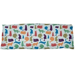 Blue Colorful Cats Silhouettes Pattern Body Pillow Cases Dakimakura (Two Sides)