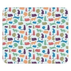 Blue Colorful Cats Silhouettes Pattern Double Sided Flano Blanket (Small)