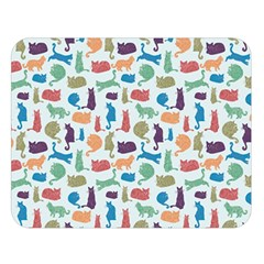 Blue Colorful Cats Silhouettes Pattern Double Sided Flano Blanket (large)