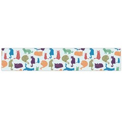 Blue Colorful Cats Silhouettes Pattern Flano Scarf (large)