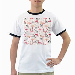 Flamingo Pattern Ringer T Shirts
